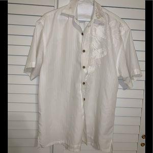 Bamboo Cay pure white men's S short sleeve shirt
